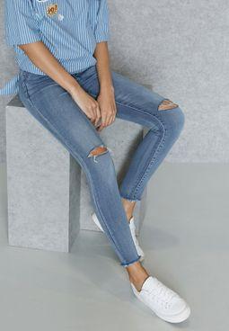 Raw Hem Knee Slit Skinny Jeans