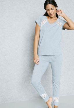 Lace Insert Pyjama Set