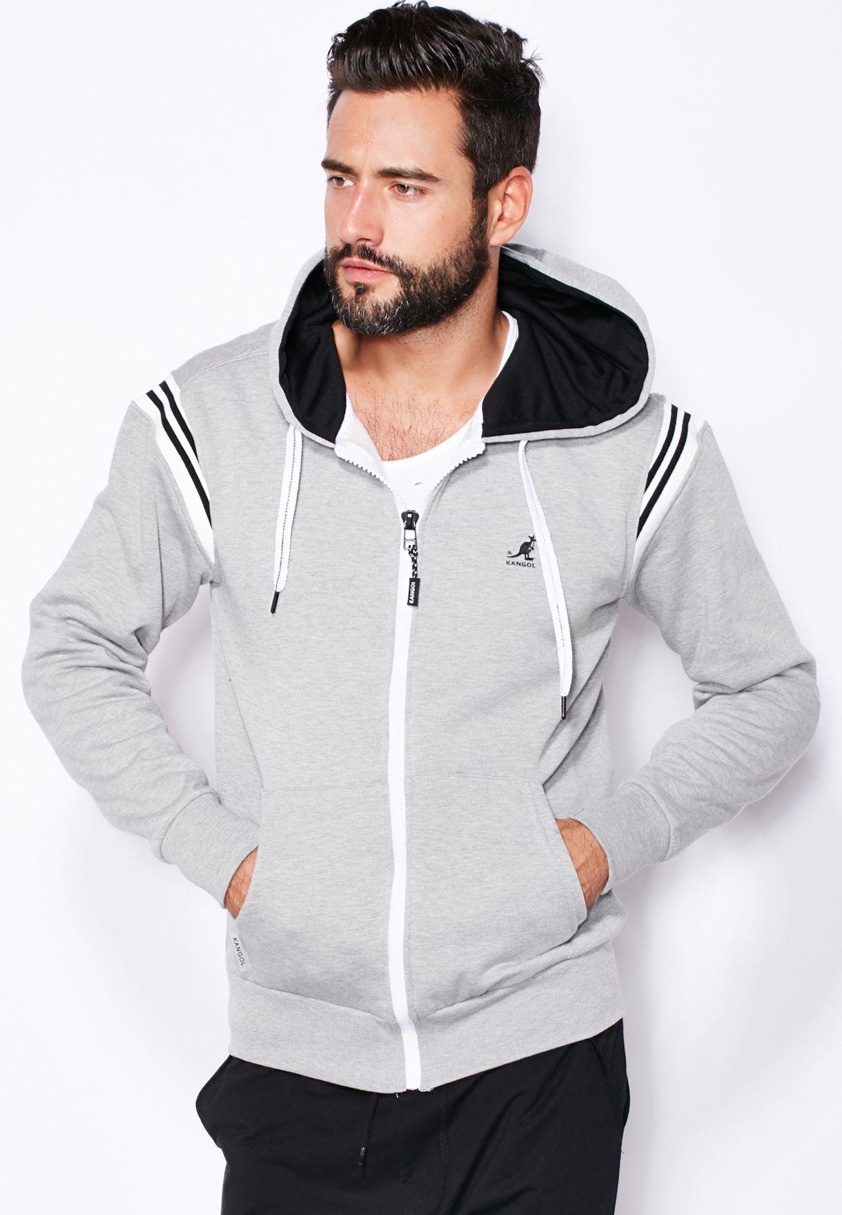000d062b Shop Kangol grey Sawyer Zip Through Hoodie for Men in UAE - KA758AT05NZY