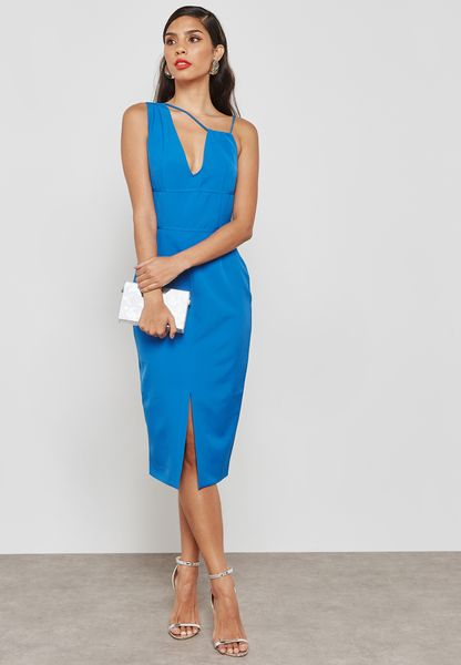 Multi Strap Front Split Midi Dress