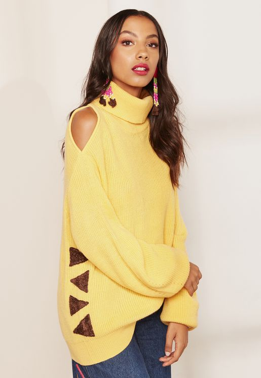 Vera High Neck Asymmetric Cold Shoulder Sweater