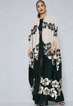 Colourblock Embroidered Cape Abaya