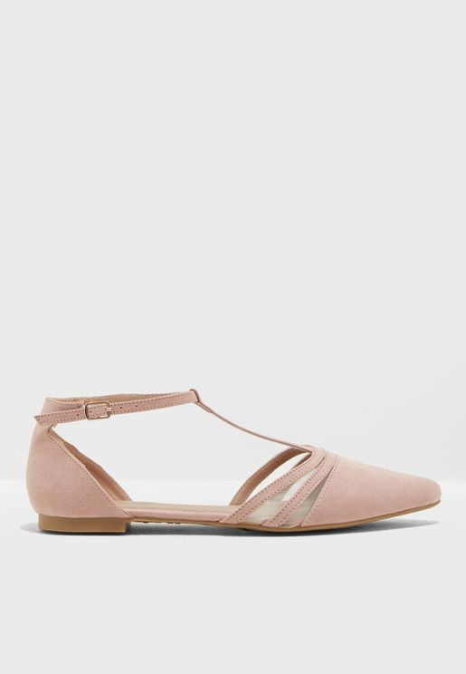 Pink Suedette Strappy T-Bar Pointed Sandal