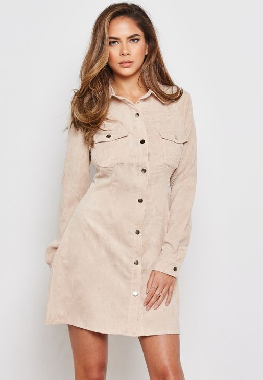 Corduroy Skater Shirt Dress