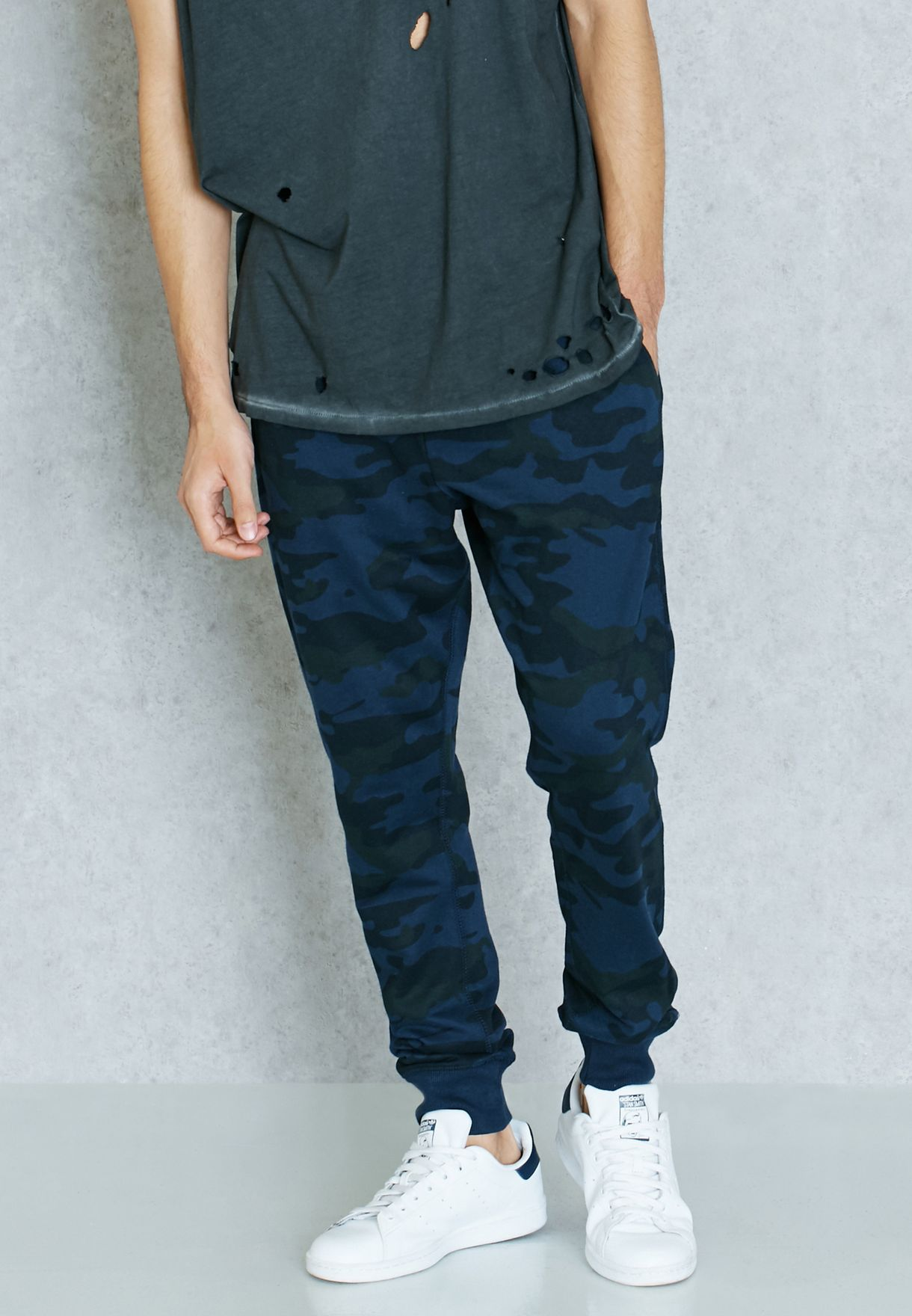 22296a990 Shop Brave Soul navy Camo Print Cuffed Sweatpants for Men in Bahrain ...