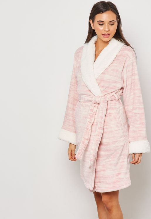 Fleece Tie Waist Robe