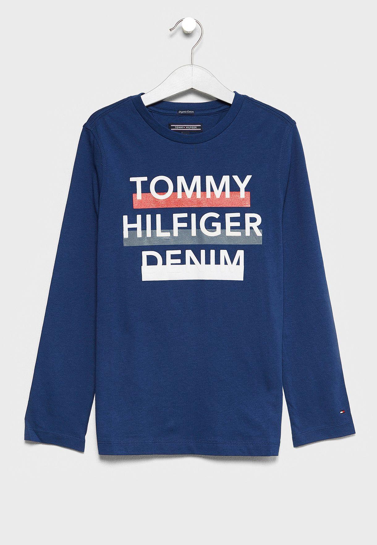 c7049b51 Shop Tommy Hilfiger navy Little Logo T-Shirt KB0KB03552 for Kids in ...