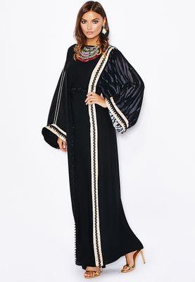 Haya's Closet Contrast Paneled Abaya