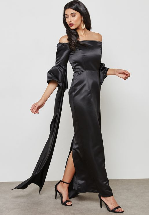 Dramatic Sleeves Off Shoulder Dress