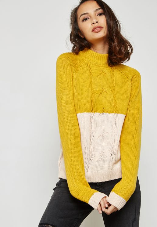 High Neck Colour Block Sweater