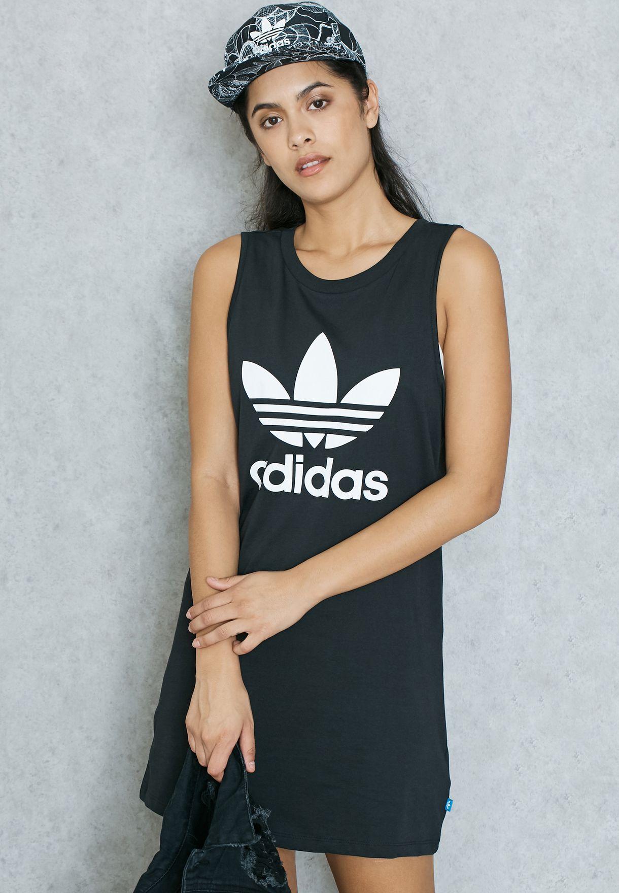 cf8d4fe6ca3d Shop adidas Originals black Trefoil Tank Dress AJ8160 for Women in ...