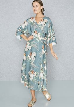 Floral Print Wrap Front Self Tie Dress