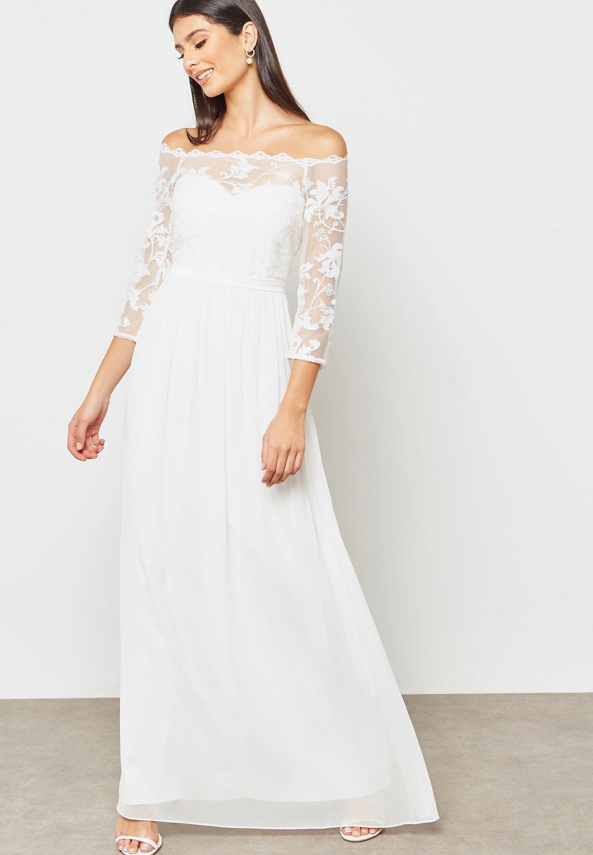 Sequin Lace Bardot Maxi Dress
