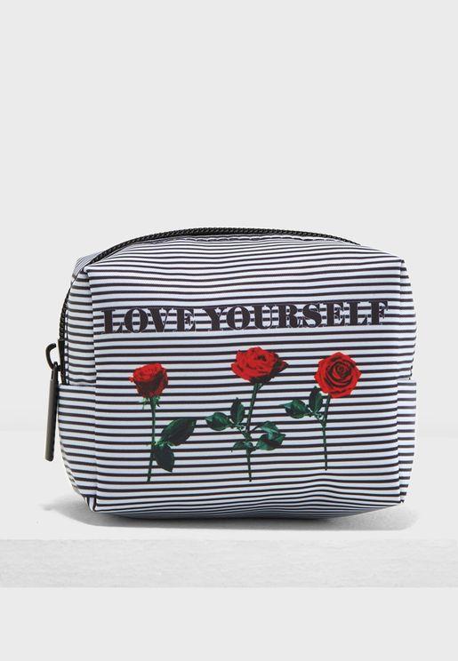 Love Yourself Stripe Cosmetic Bag