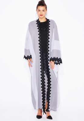Haya's Closet Colourblock Lace Trim Abaya