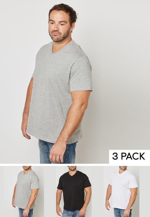3 Pack Basic V Neck T Shirt