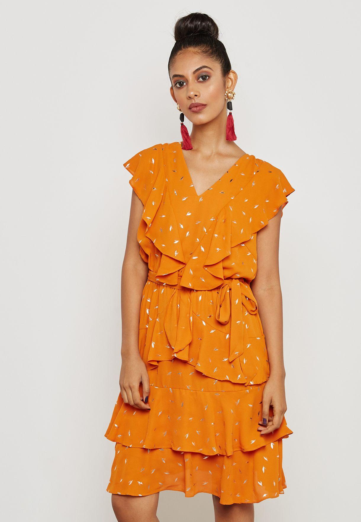 3d4d347e0c0a Shop Yas orange Tie Waist Ruffle Plunge Dress 26011724 for Women in ...