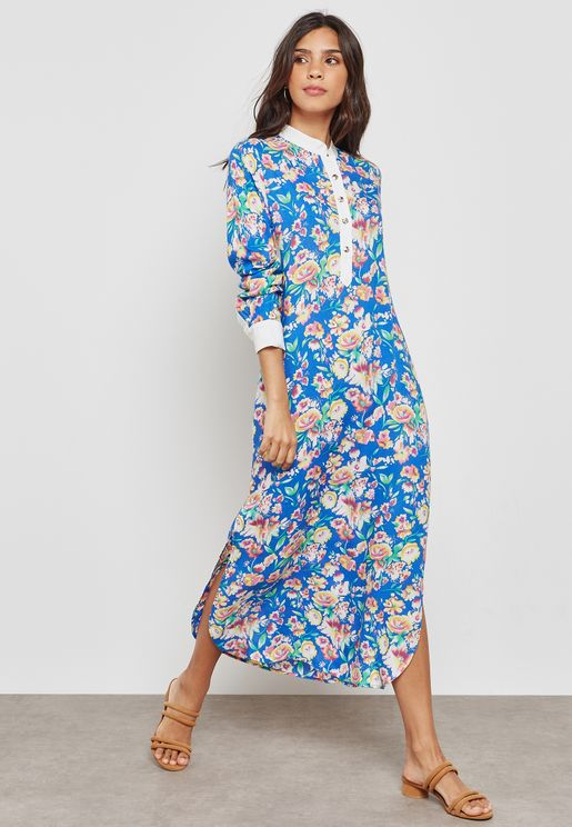 Side Slip Printed Dress
