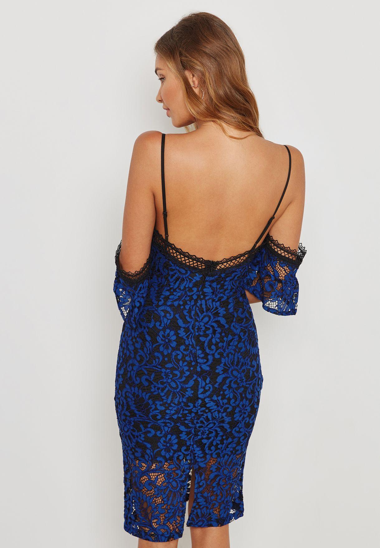 Lace Cold Shoulder Plunge Dress