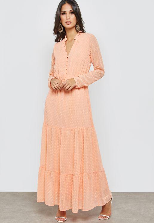 Clip Dot Tiered Ruffle Maxi Dress