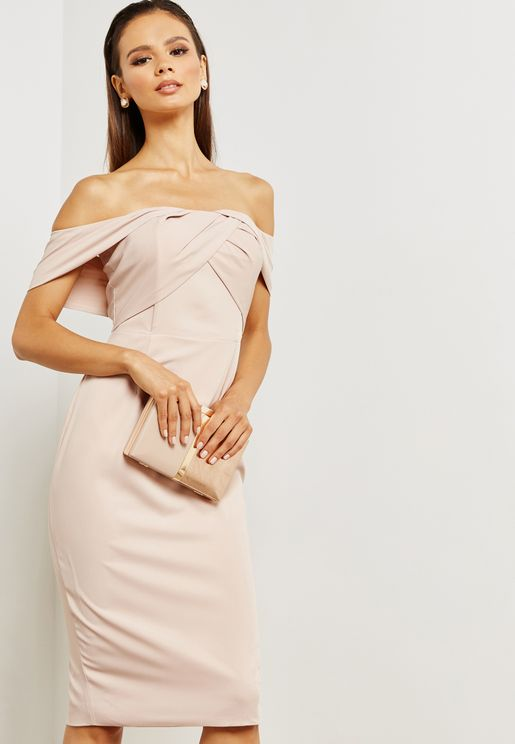 Bardot Crossover Front Detail Midi Dress