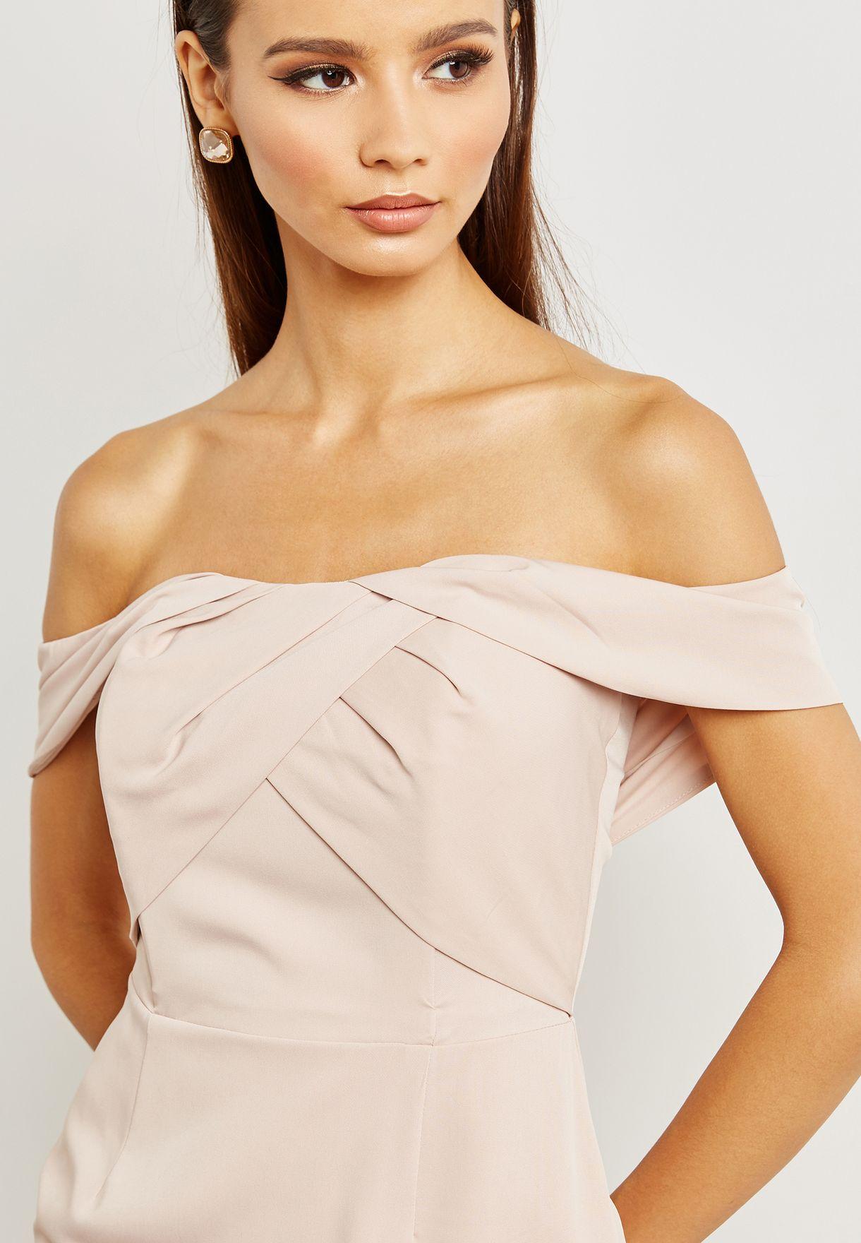 Bardot Crossover Front Detail Midi Dress