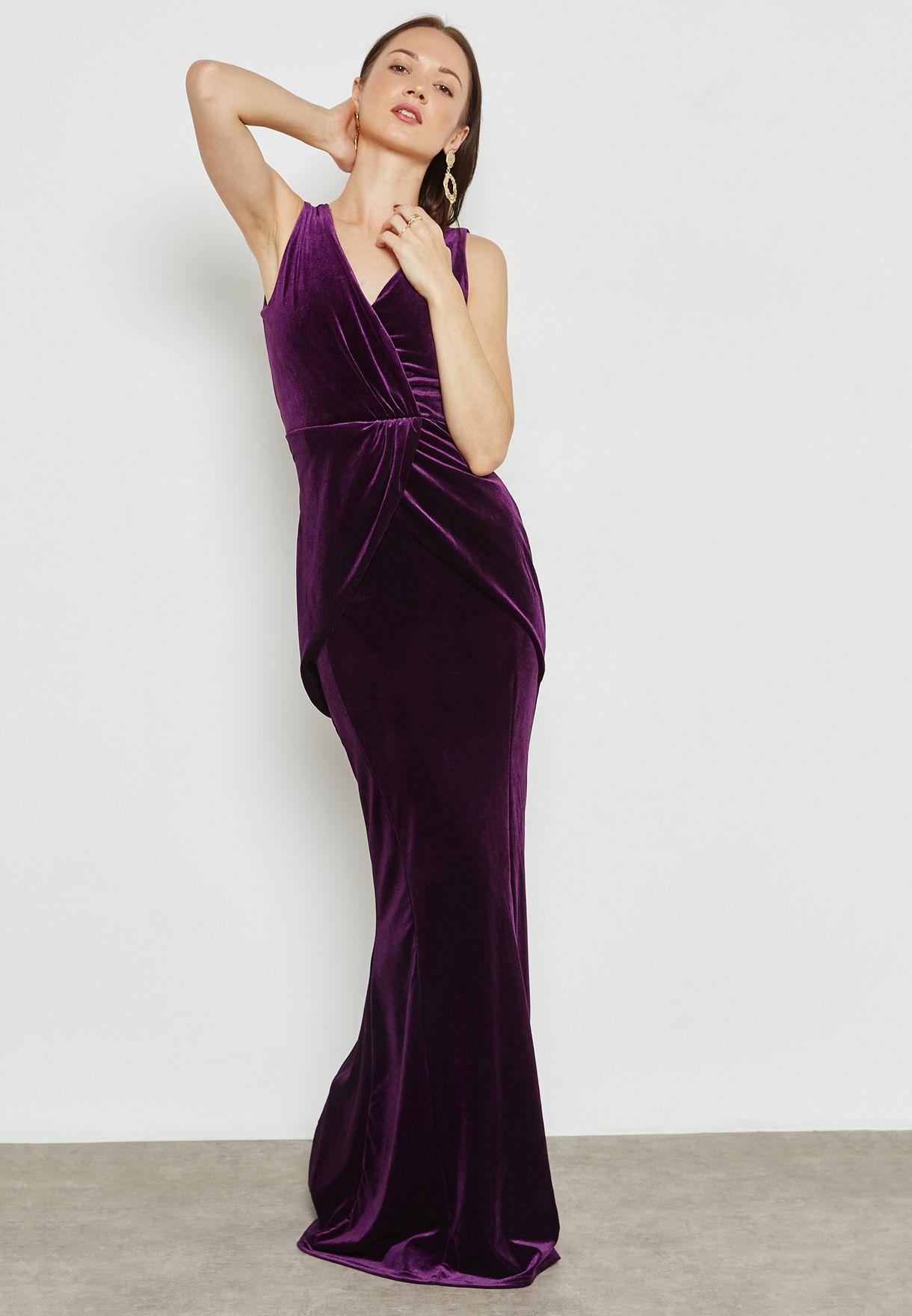 Wrap Front Detail Velvet Maxi Dress