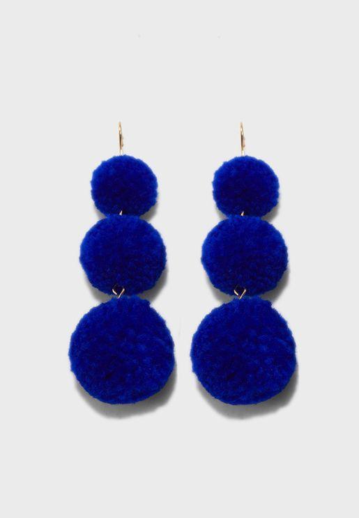 3 Pom Drop Earrings