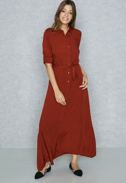 Self Tie Shirt Maxi Dress