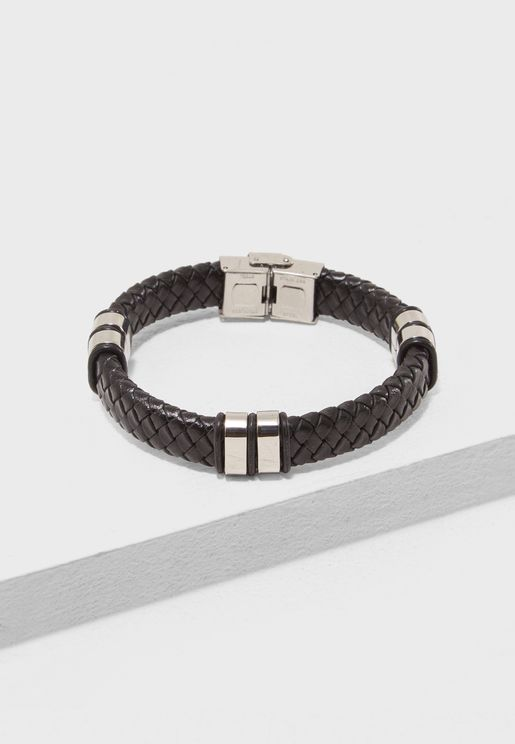Leather Braided Push Lock Bracelet