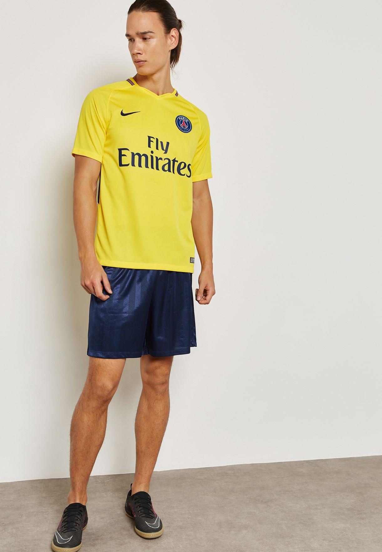 47528b303 Shop Nike yellow PSG 17/18 Stadium Away Jersey 847268-720 for Men in ...