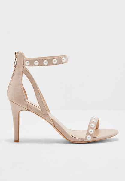 Beaded strappy heels