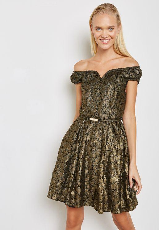 Metallic Belted Bardot Dress