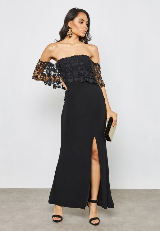 Lace Ruffle Bardot Bandeau Dress