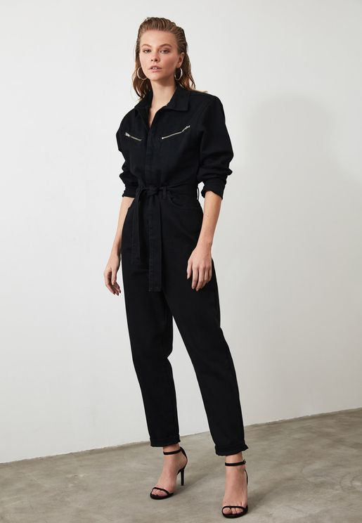 Zip Detail Denim Jumpsuit