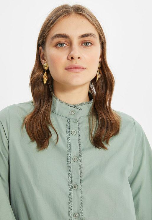 Lace Trim Button Down Tunic