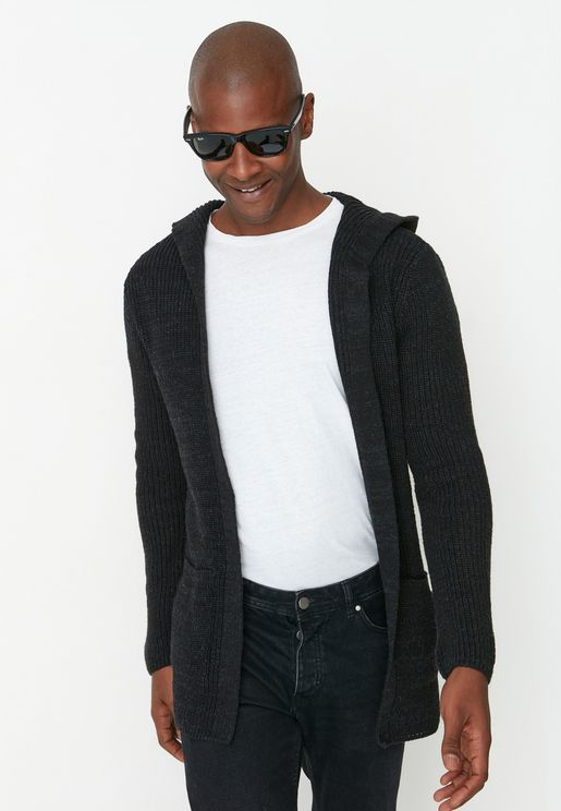 Knitted Hooded Cardigan