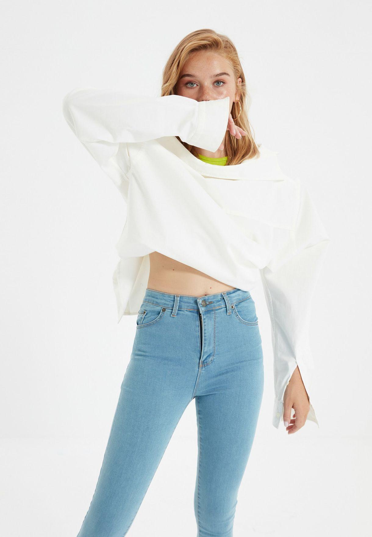 جينز سكيني بخصر عالي