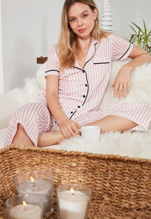 Contrast Detail Striped Shirt & Pyjama Set