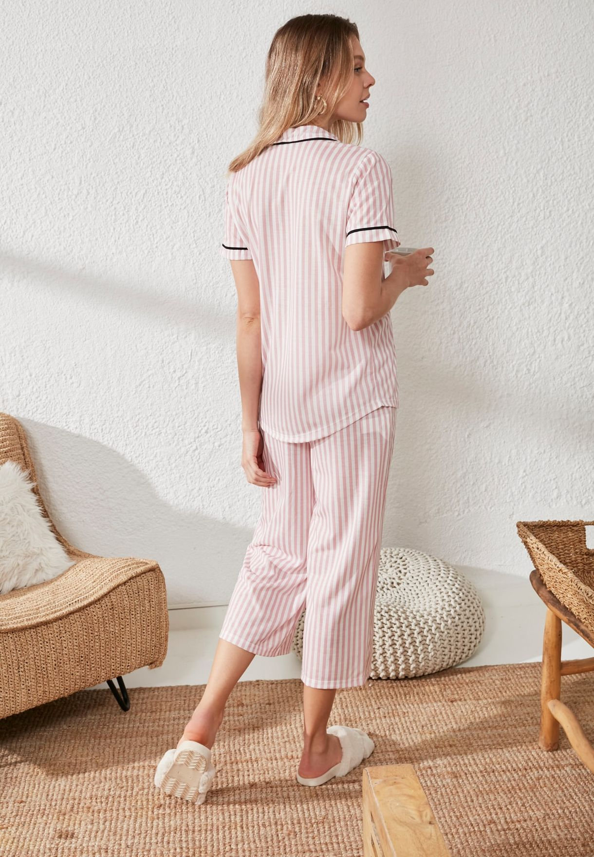 Contrast Detail Striped Shirt & Pyjama Set
