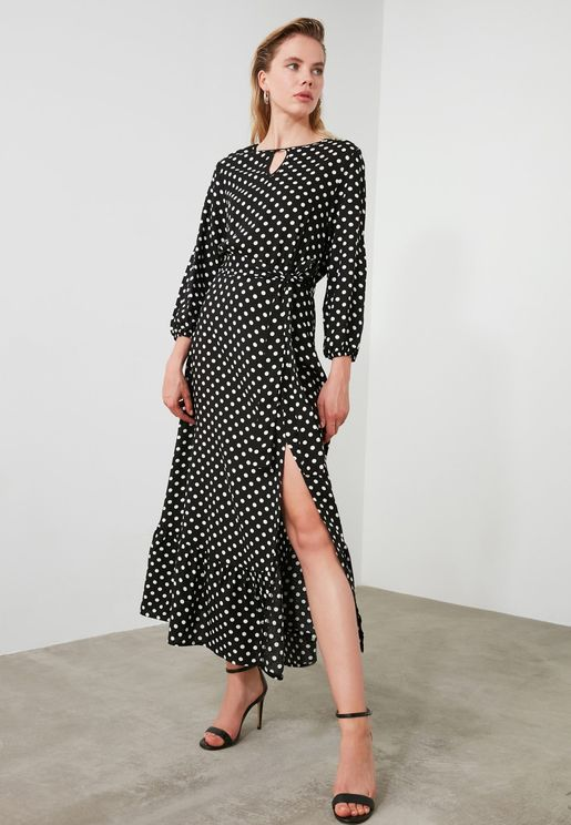 Side Slit Polka Dot Dress
