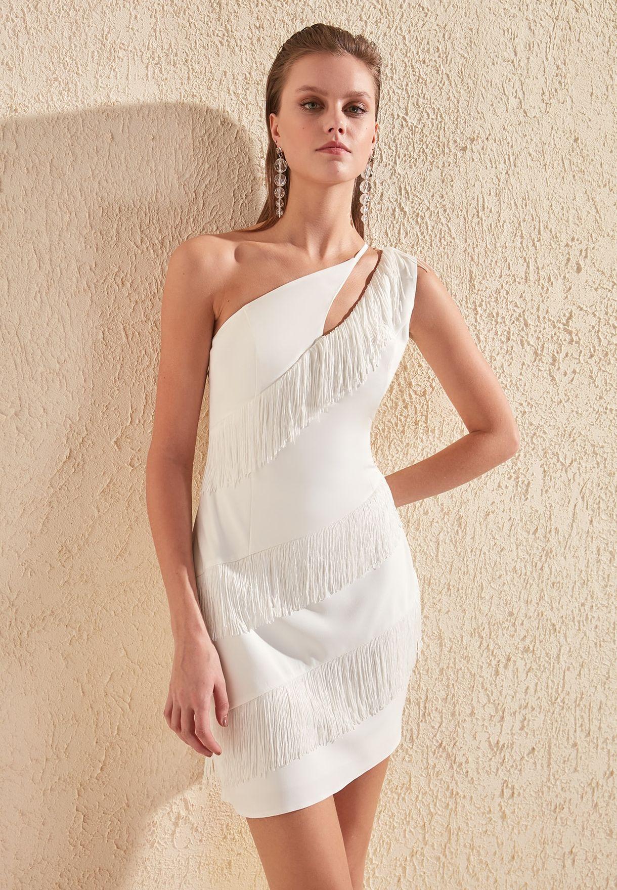 Cut Out Tassel Detail Dress