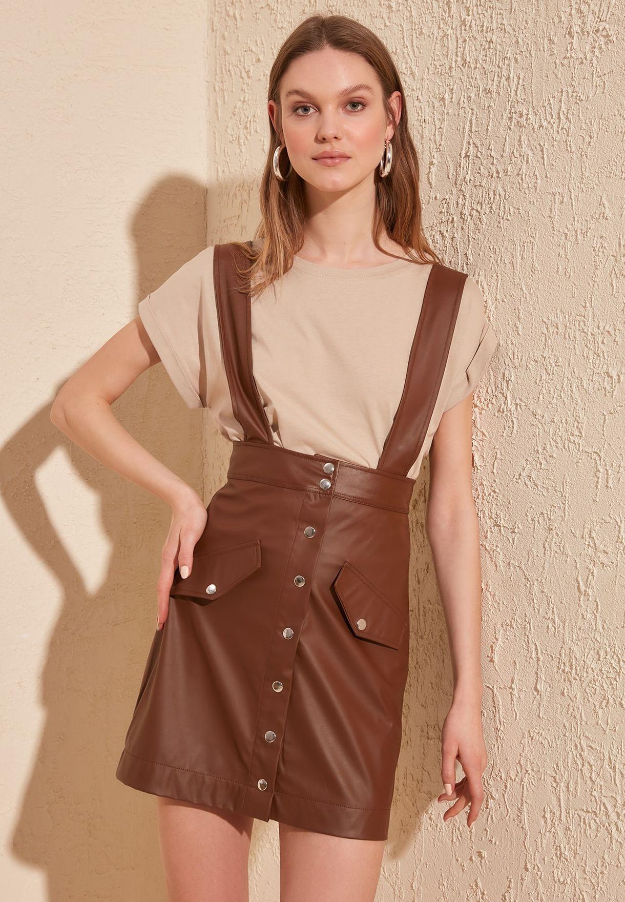 Pu Pinafore Dress
