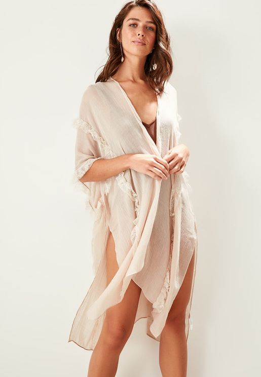 Lace Frill Detail Cover Up