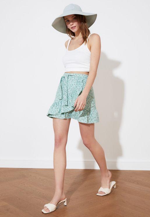 Ruffle Detail Mini Skirt