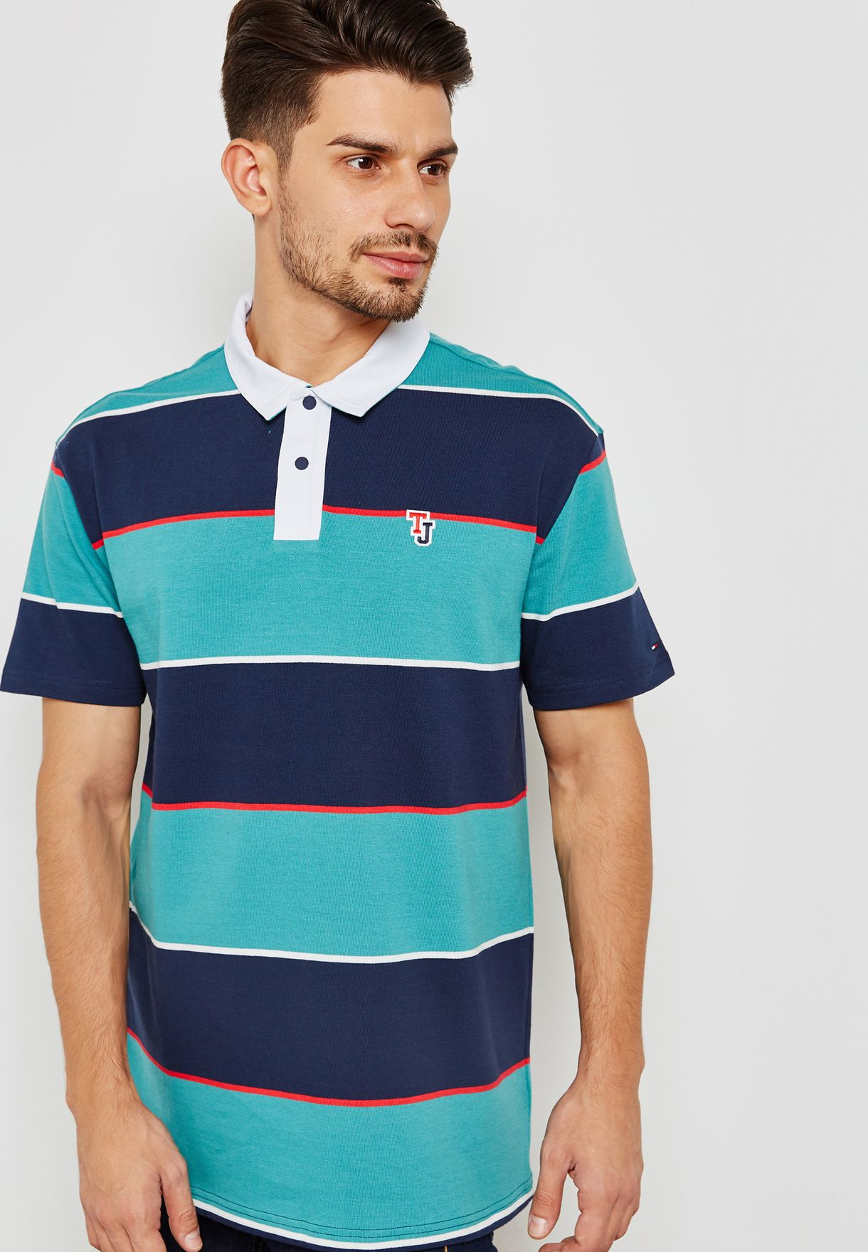 6848c2f46d3 Shop Tommy Jeans multicolor Block Stripe Rugby Polo DM0DM04502 for ...