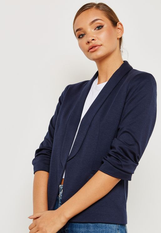 Ruched Sleeve Ponte Jacket