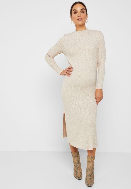 Side Split Ribbed Dress