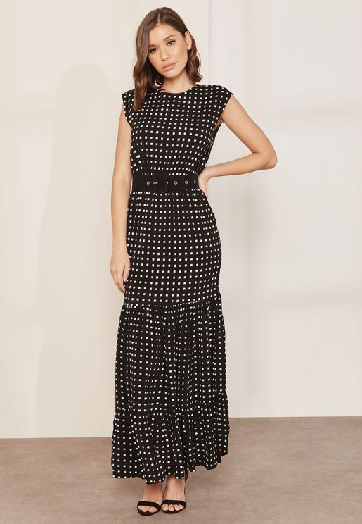 Shore Belted Printed Maxi Dress