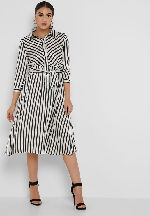 Striped Self Tie Shirt Maxi Dress